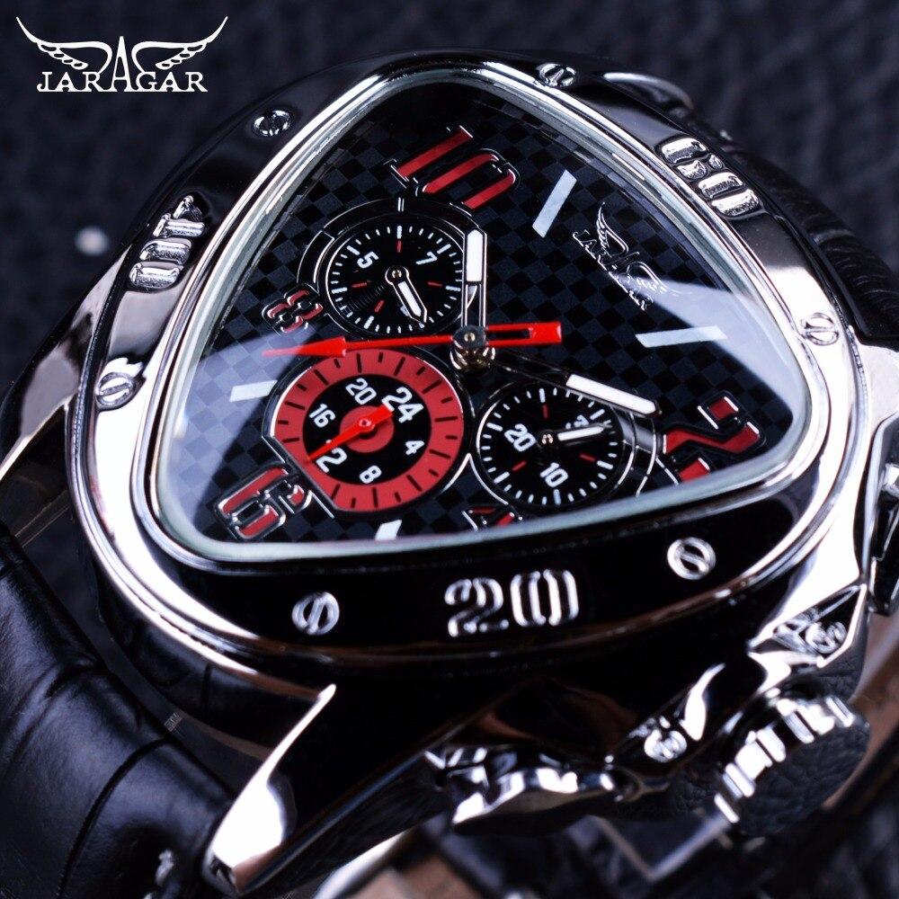 Jaragar deporte Racing diseño geométrico triángulo diseño correa de cuero genuino relojes de hombre Top marca de lujo reloj automático