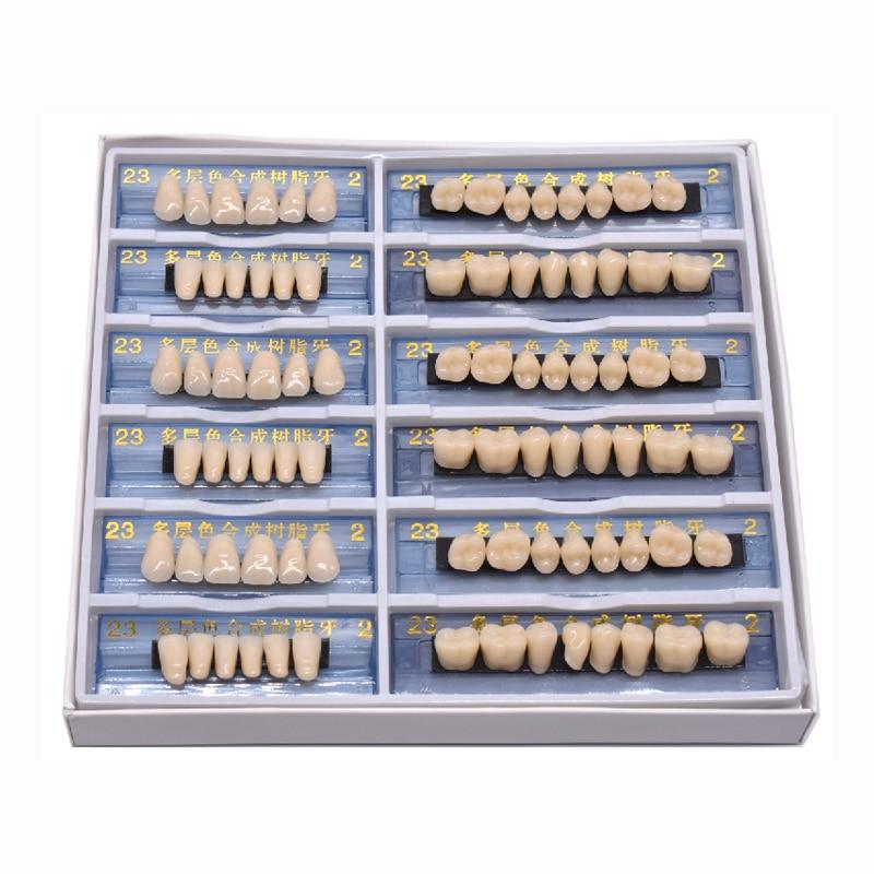 168/84pcs Acrylic Resin Denture Dental Teeth Upper Lower Shade 23 A2 Oral Care Whitening Tooth Model Dental Materials