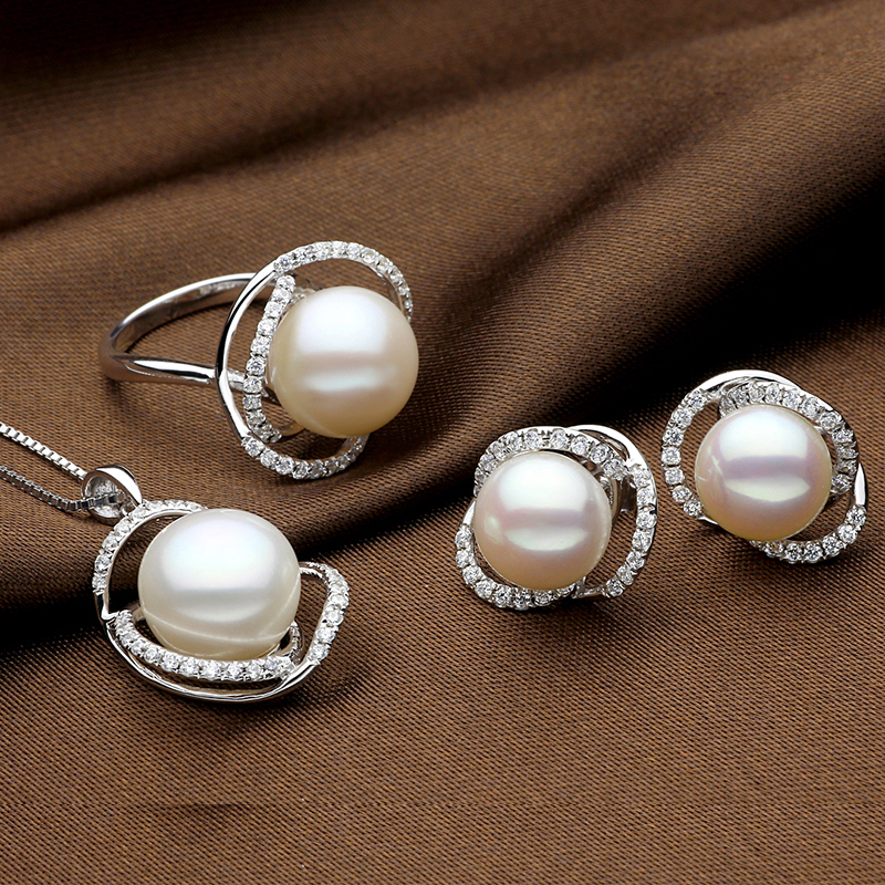 Sinya Natural pearls jewelry set with Ring Earring and Necklace in 925 Sterling silver pearl diameter
