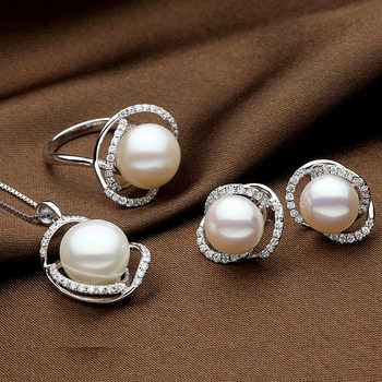 Sinya Natural pearls jewelry set with Ring Earring and Necklace in 925 Sterling silver pearl diameter 10-13mm 2017 new arrival - DISCOUNT ITEM  41% OFF All Category