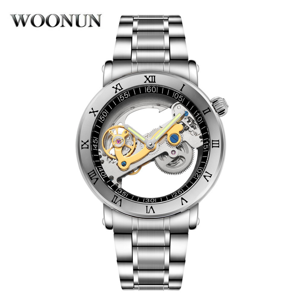 WOONUN Waterproof Mechanical Watches Men Transparent Tourbillon Automatic Mechanical Skeleton Wrist Watches Relogio Masculino