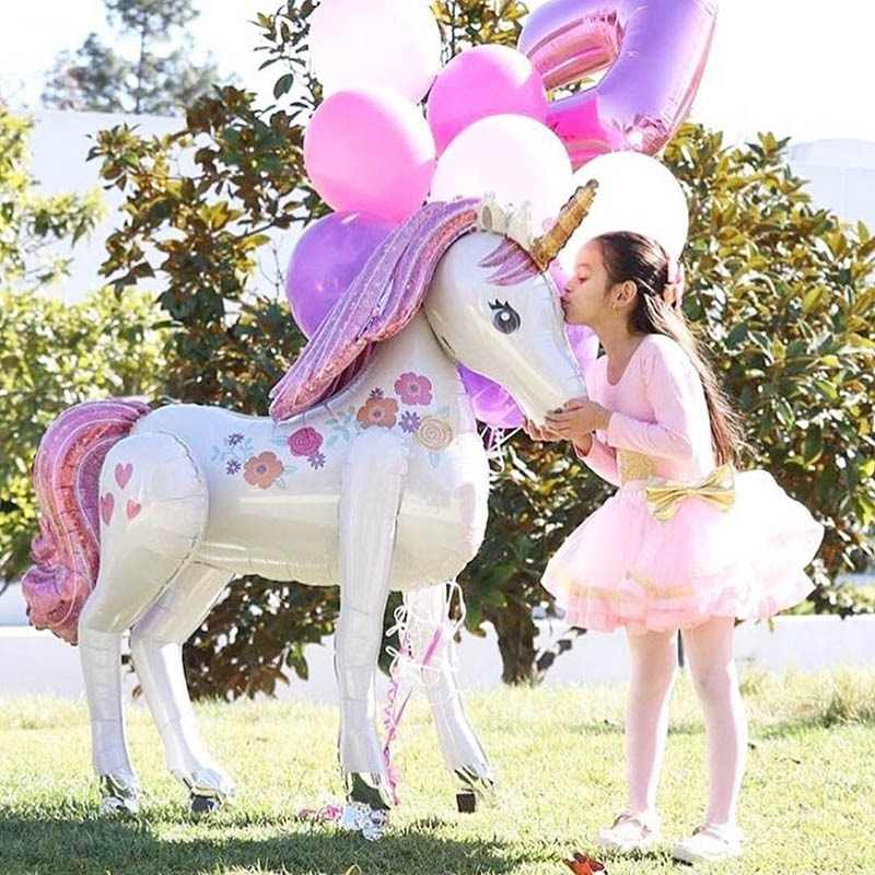 Unicorn Party Decorations Supplies 3D Large Unicornio Walking Animal Foil Balloons Girls Birthday Theme Party Decor Favors