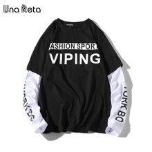 Una Reta T-Shirt Men Spring New Brand Hip-Hop Letter Splicing Tee Top Fake Two Pieces Long Sleeve Streetwear Men T Shirt