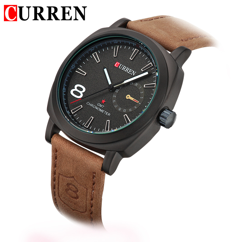 Hot new fashion quartz hour dial clock leather strap curren watches bussiness men 39 s sport for Curren watches