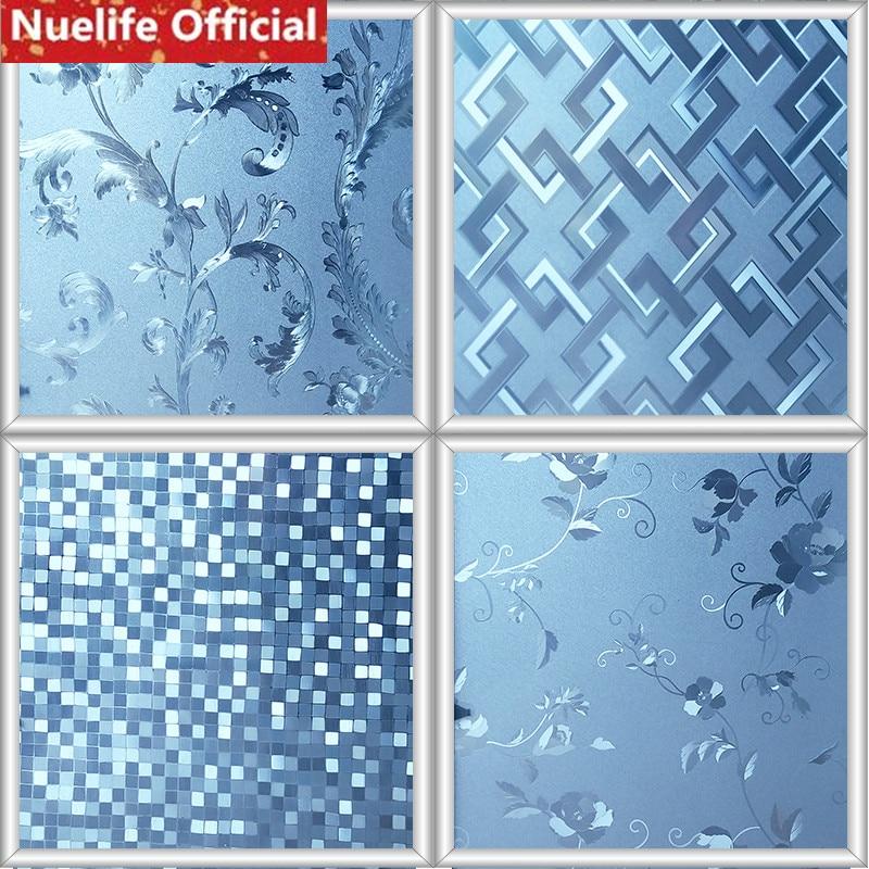 45x100cm Garden style decorative pattern blue electrostatic film sitting room bathroom kitchen office balcony window glass film