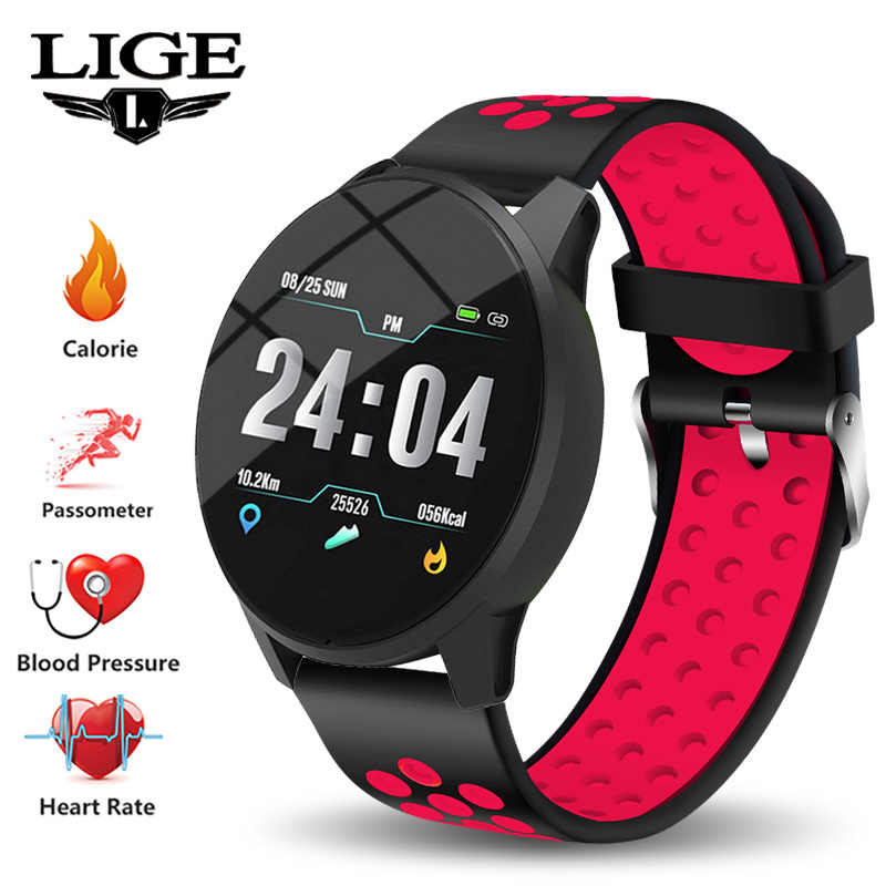LIGE New Women Smart Bracelet Fitness Tracker IP67 Waterproof Smart Watch Blood Pressure Monitor Pedometer Wristband Sport Watch