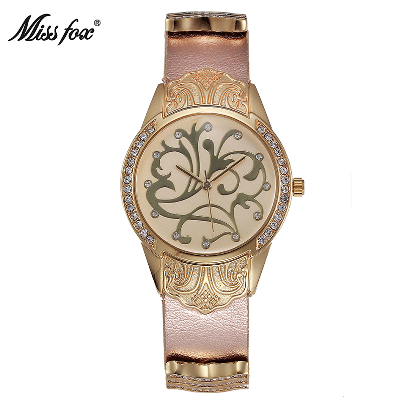 MISSFOX Flower Special Wrist Watch Fashion Casual Black Leather Ar China Watches Women Clock Imported Pearl Shell Gold Watch