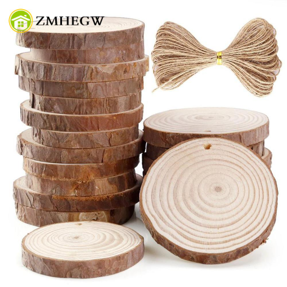 10 24pcs 6 7cm unfinished predrilled wood slices round log for Wood circles for crafts