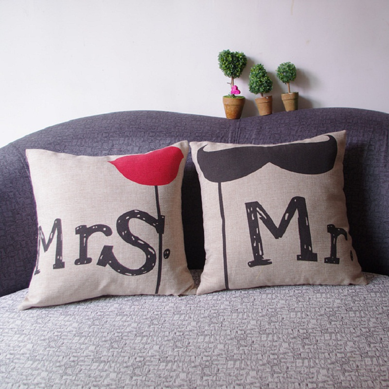 Decorative Pillow Sets For Bed : 2016 New home textile fashion cartoon style text Pillow sets Scandinavian standard linen pillow ...