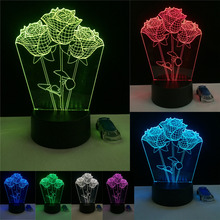 Three Romantic Rose Flower 3D Led Night Light RGB 7 Color Change Novelty Table Lamp Home Decor Bedside Lampara Child Kids Gifts 2018 beautiful unicorn romantic gift 3d led table lamp 7 color change night light room decor lustre holiday girlfriend kids toys