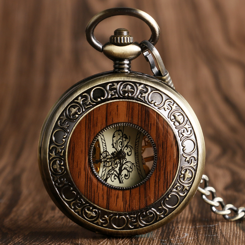 Bronze Wooden Watch Men Classic Circle Hollow Hand-wind Mechanical Pocket Watch Transparent Pendant Necklace Fashion Unisex Gift fashion rhinestone hollow out tortile cross shape pendant necklace for men