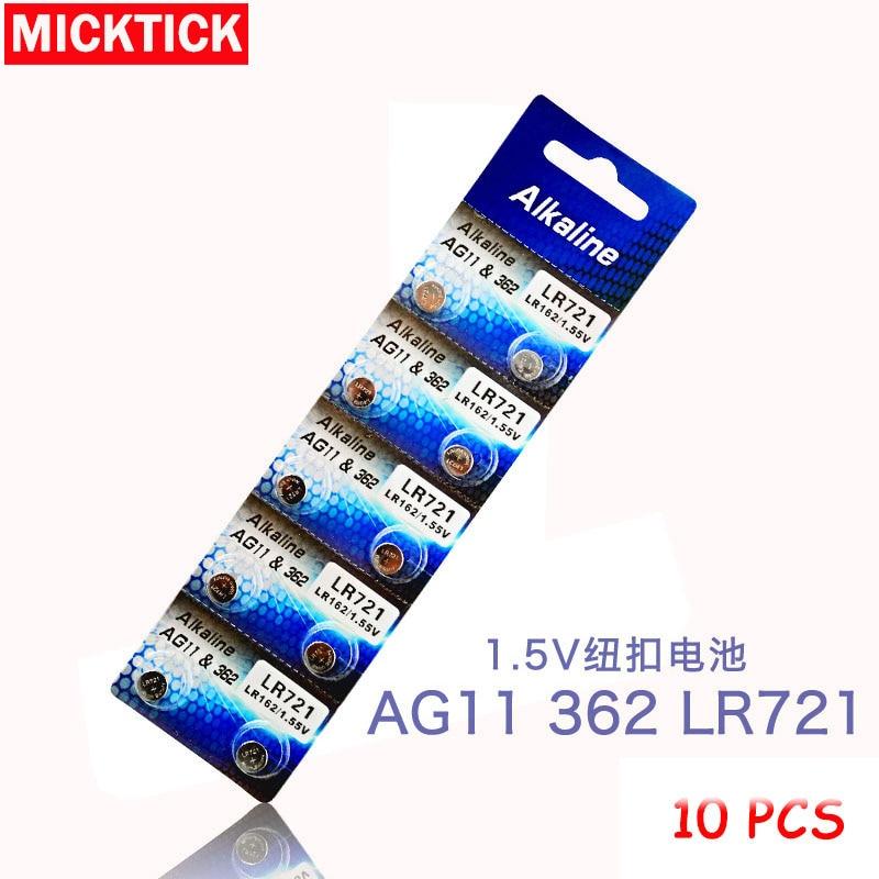 New 10pcs/lot AG11 Button Cell Batteries AG11 LR721 G11 LR58 162 GP62A 362 SR721W 1.5V Alkaline Battery