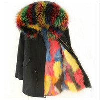 2018 new Winter Jacket Women Brand Real Large Raccoon Fur Collar Fox Fur Lining Hooded Black long Parka Outwear Free DHL