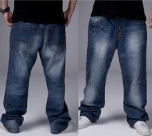 Горячей Продажи Большой Размер 30-46 Свободные хип-хоп джинсы Мода Европейский мужская высокого качества вскользь джинсовые брюки