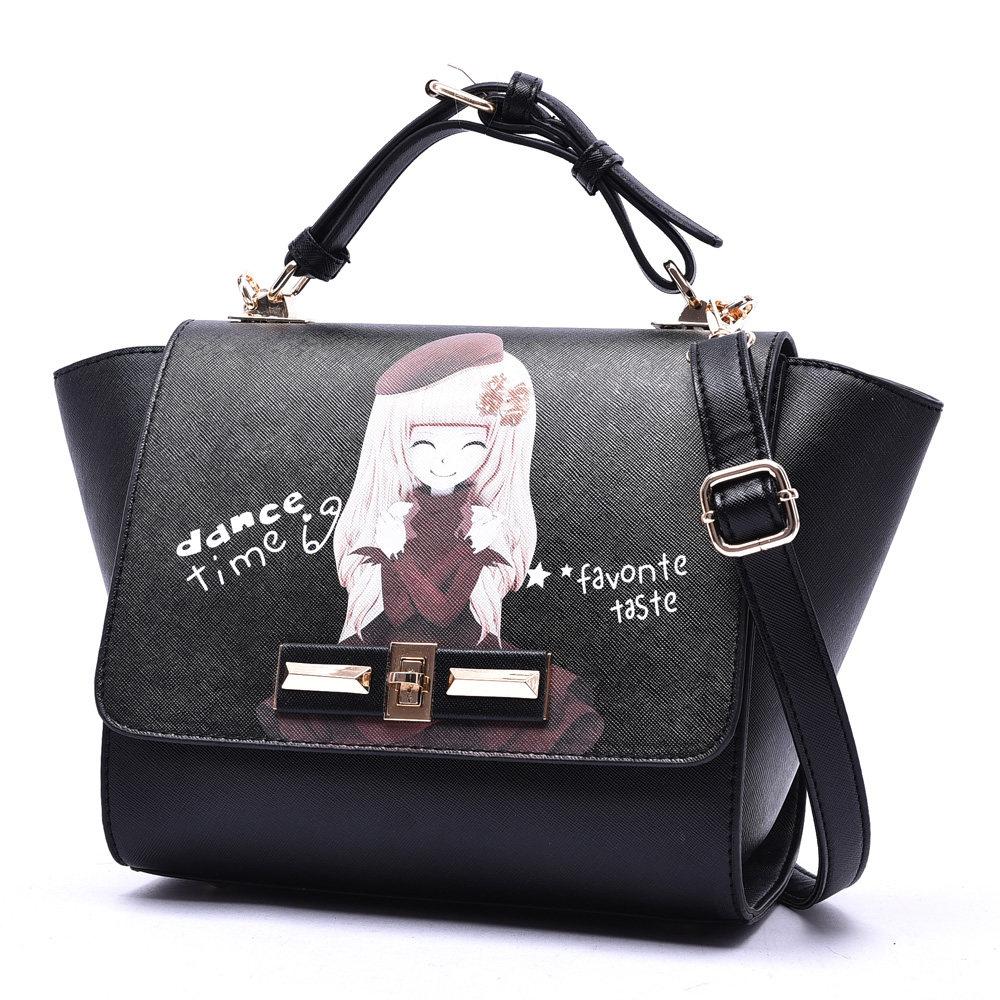 Lovely Princess Printing Ladies Sweet Style PU font b Handbag b font Cute Cartoon Trendy All