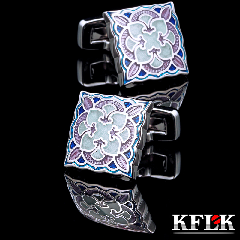 KFLK Jewelry shirt Fashion cufflinks for mens Brand Blue enamel cuff links Luxury Wedding Button Male High Quality Free Shipping ...