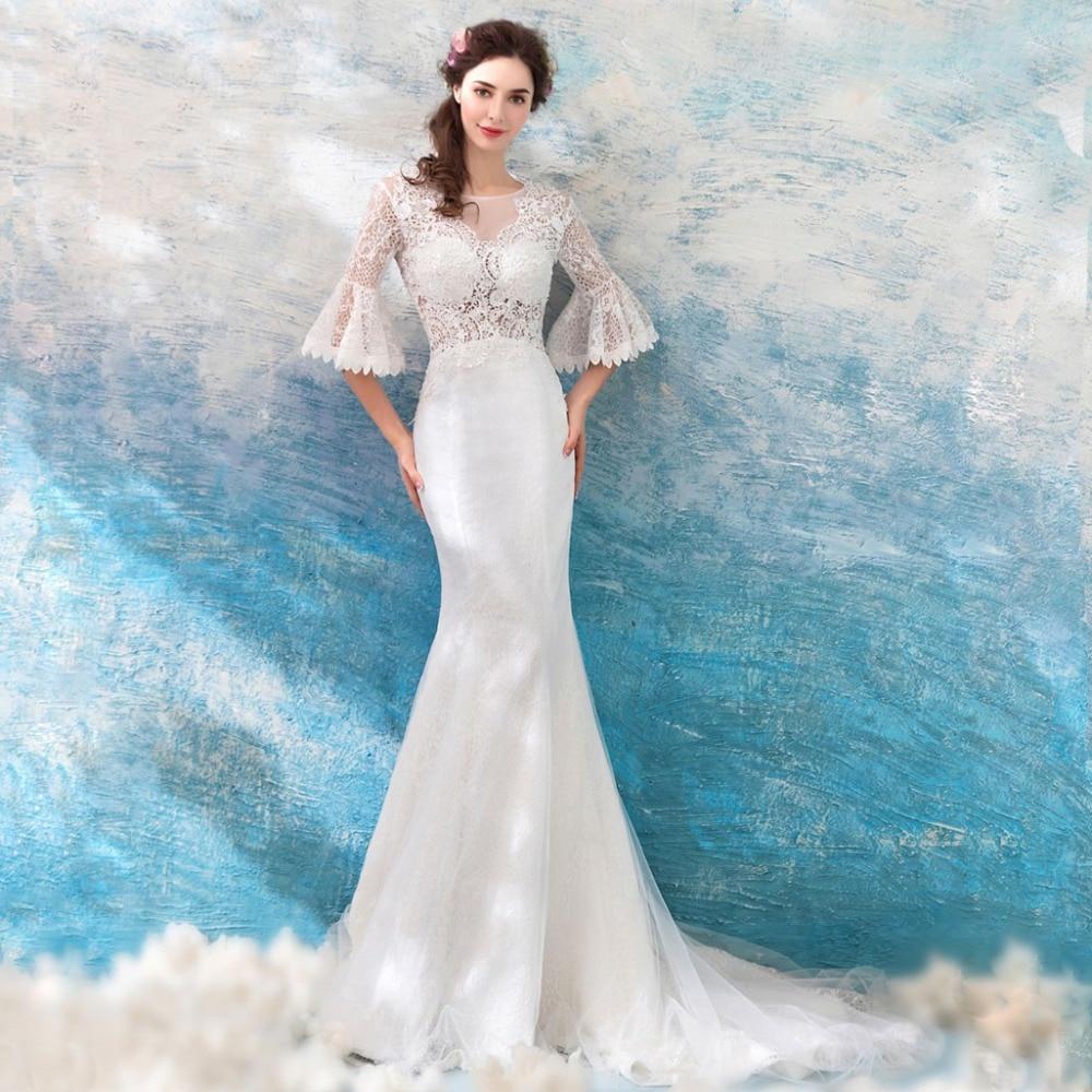 Vintage Wedding Dress 2019 Lace Bridal Gown Elegent Sheath