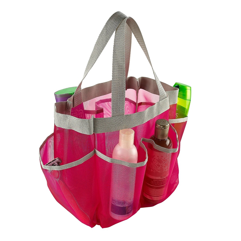 Quick Dry Storage Bag Portable Storage Tote Bag Hanging Mesh Bathroom Bags With 7 Pockets Bath Bags For Dorm/Gym/Camp/Travel