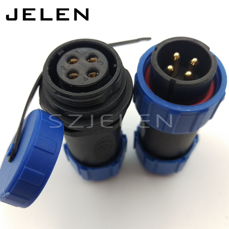 SP2110, 4 pin electric cable connector , waterproof plug and socket ...