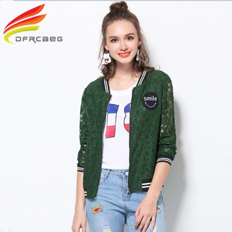 DFRCAEG L-5XL 2017 Summer Green Women Bomber Jacket Fashion Hallow Out Lace Casaco Feminino Long Sleeve Coat Plus Size Jaqueta