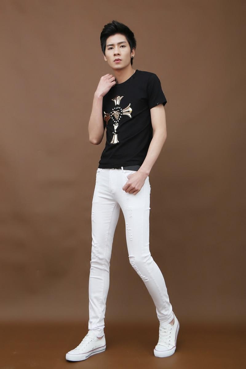 Été Élastique Trou Mince Jeans Skinny Pantalon Hommes De Mode Leggings hommes Pantalon Casual Hommes D'affaires Pantalon Blanc Cassé La Peur De dieu