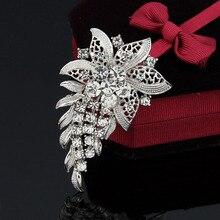Винтажная серебряная брошь прозрачный горный хрусталь лист цветок брошь булавка для женщин свадебное платье аксессуары