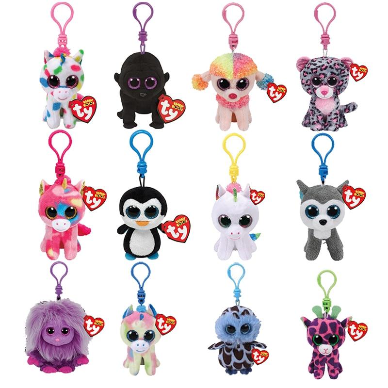 Ty Boos Big Eyes Plush Keychain Toy Doll Fox Owl Dog Unicorn Penguin Giraffe Leopard Monkey Dragon 4
