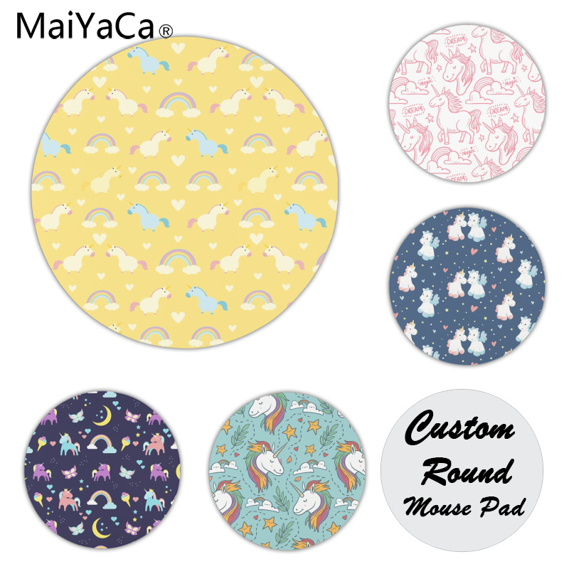MaiYaCa Unicorn Magic Anti-Slip Durable Silicone Computermats Size for 22X22cm Round Gaming Mousepads