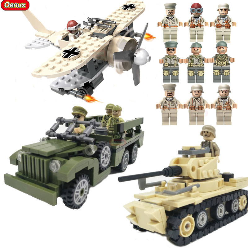 Oenux 2017 World War 2 North Campaign Military Vehicle Model MARK1 Tank Dodge WC63 Krupp Artillery 82 Building Block Brick Toys world war 1