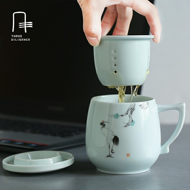 office cups. Office Cup Mug With Handle Lid Filter Handpainted ChineseTea Cups Creative Gift Ceramic Coffee Mugs Tea V