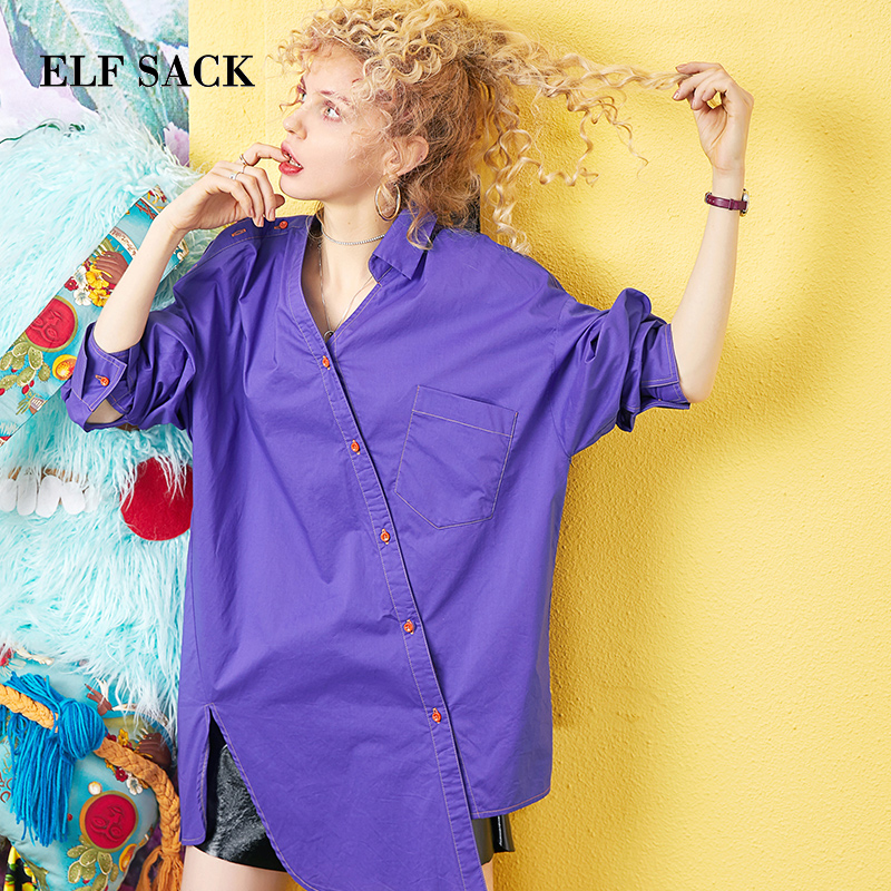 ELF SACK 2019 Woman Summer Shirts Casual Fashion Long Femme Blouse Solid Streetwear Oversized Cotton Ladies