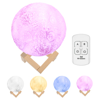 3D LED Moon Light USB Rechargeable Remote Control 13/18cm Diameter 4 RGB Dimmable Colors Luna Night Lamp with Wooden Stand