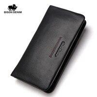 BISON DENIM fashion luxury men wallets long genuine leather male clutch purse brand zipper wallet