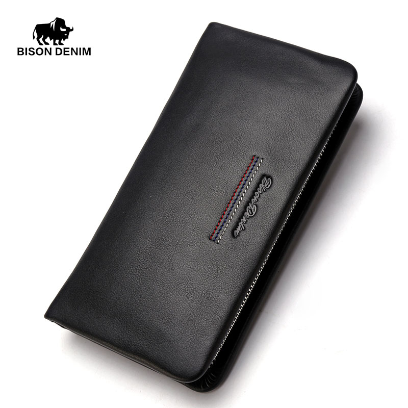BISON DENIM fashion luxury men wallets long genuine leather male clutch purse brand zipper wallet