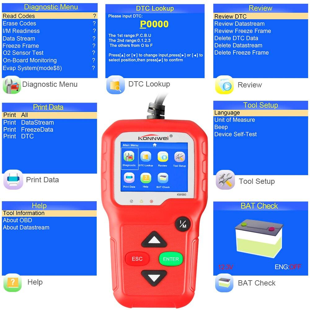 Image 5 - 100% Original OBD2 Scanner Automotive Scanner KONNWEI KW680 OBD 2 EOBD Car Diagnostic Scanner Fault Error Code Reader Scan Tool-in Code Readers & Scan Tools from Automobiles & Motorcycles