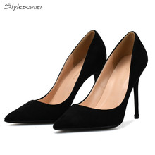 Stylesowner Big Size 32-46 Black Shoes Women 2017 Pointed Toe Mature Nude High Heels Sexy Office Thin Heels Women Shoes(China)