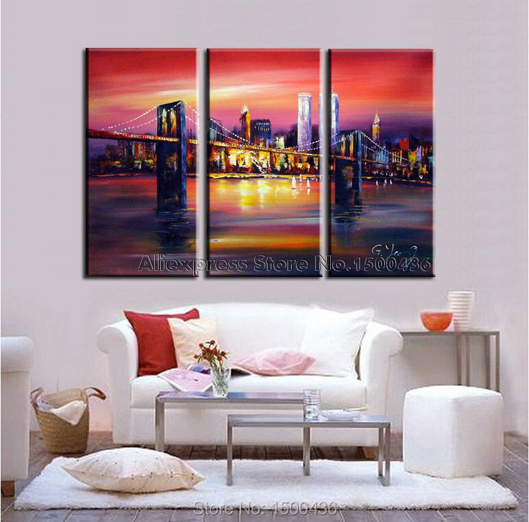 Hand Painted Abstract New York Cityscape Canvas Oil Paintings For ...