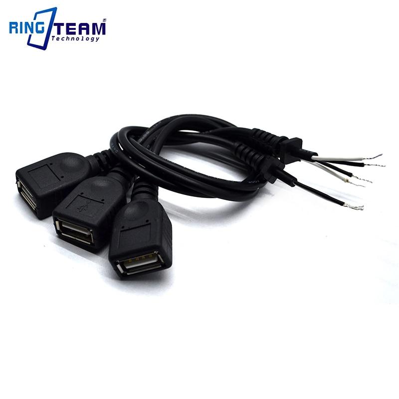 100 pièces 30 CM femelle USB connecteur embouts avec câble cordon d'alimentation fil pour adaptateur appareils photo numériques caméscope MP3 MP4 Mobile téléphone Pad