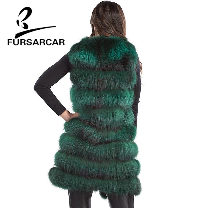 cou Fourrure O blue 90 Pour Red green Hiver Réel Véritable Femmes Cm De Fursarcar Fox Chaud Silver Gilet En Cuir Les Naturel Longue Renard bgf76y