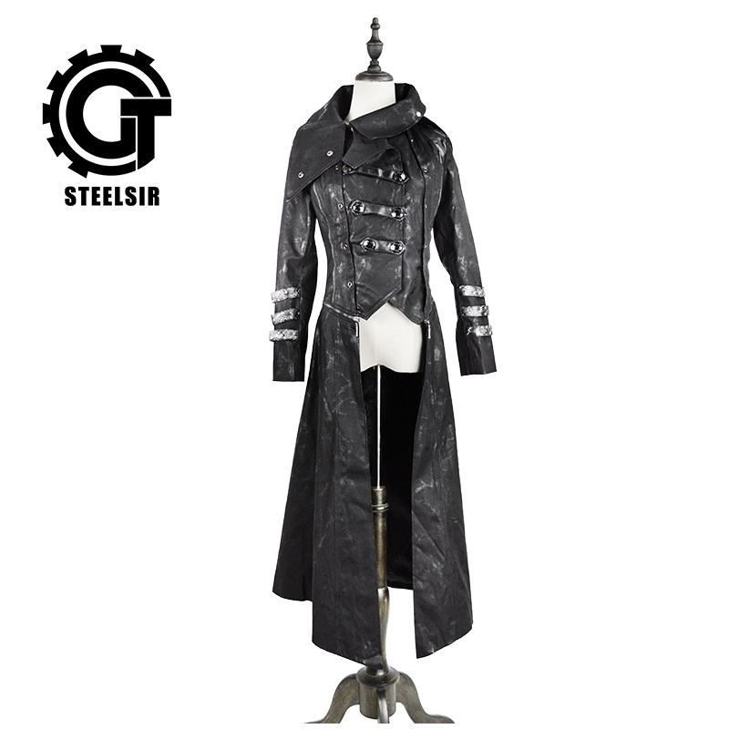 Women Winter Steampunk Long Coat Black Stretch Twill Fabric Leather   Trench   Coat with Calender Scorpion Leather Removable Hat