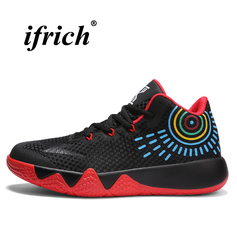 Men Boys Baketball Sports Shoes Low Top Athletic Sneakers Black Red Basketball Shoes Anti-slip Training Shoes Mens Trainers