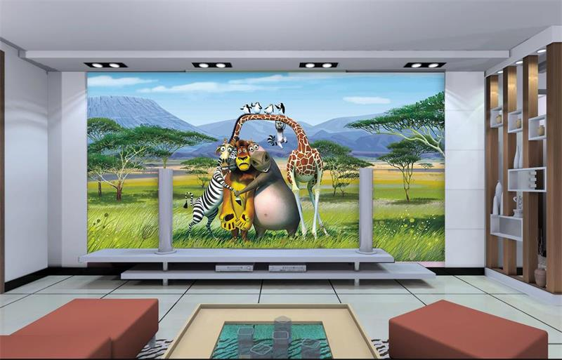 Custom 3d Photo Room Wallpaper Mural Non-woven Sticker Madagascar Sofa TV Background Wall Painting Photo Wallpaper For Walls 3d