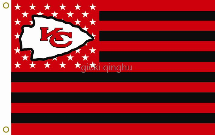 Kansas City Chiefs Nfl Premium Team Football Flag Black And Red Hot Goods 3x5ft 150x90cm Custom Free Shipping In Flags Banners Accessories