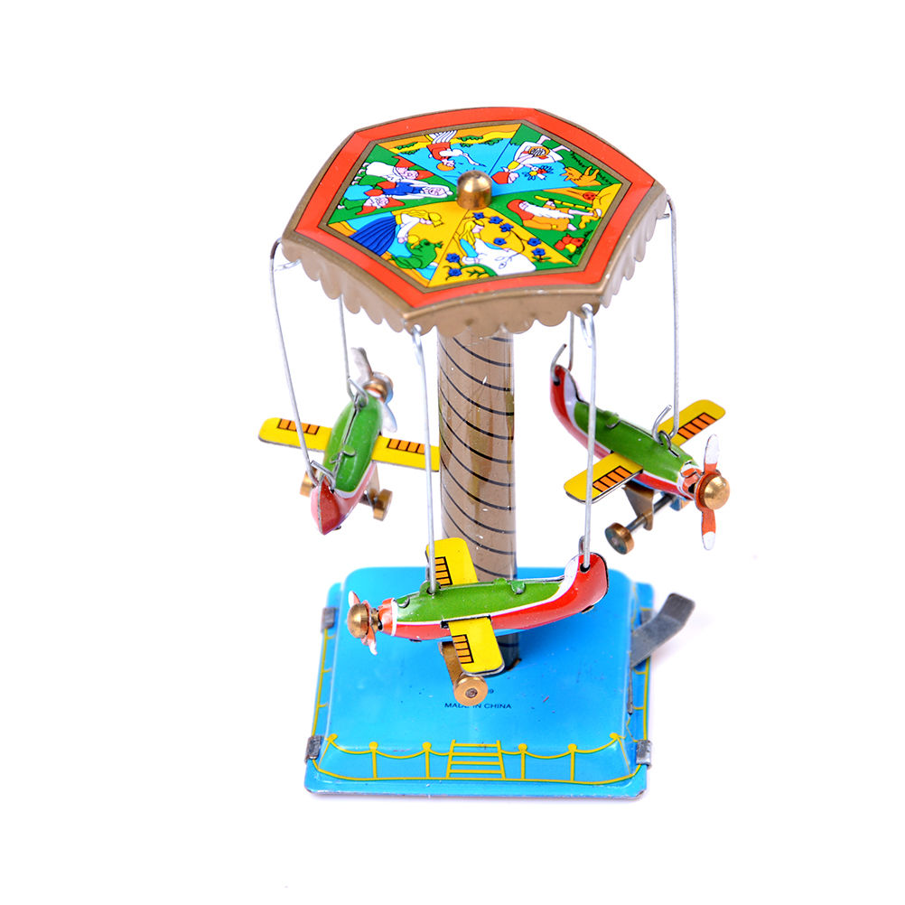 1 Set Vintage Wind Up Rotating Airplane Fairground Carousel Clockwork Toy Collectible Gift For Kids child image