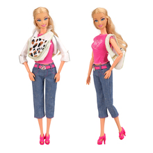 Our Generation Doll Clothes Set Girl Fashion Coat Pant T-shirt Belt Shoes For Barbie Doll Fashion Outfit Best Gift Accessories nk one set original princess doll dress noble party gown for barbie doll fashion design outfit best gift for girl doll