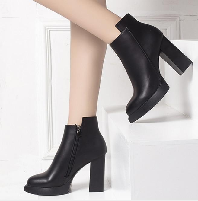 XEK Kalın Yüksek Topuklu patik kadın 2018 Pu Deri Platformu Kadın bileğe kadar bot Zip Kadın Ayakkabı Kadın Kış Ayakkabı ZLL526