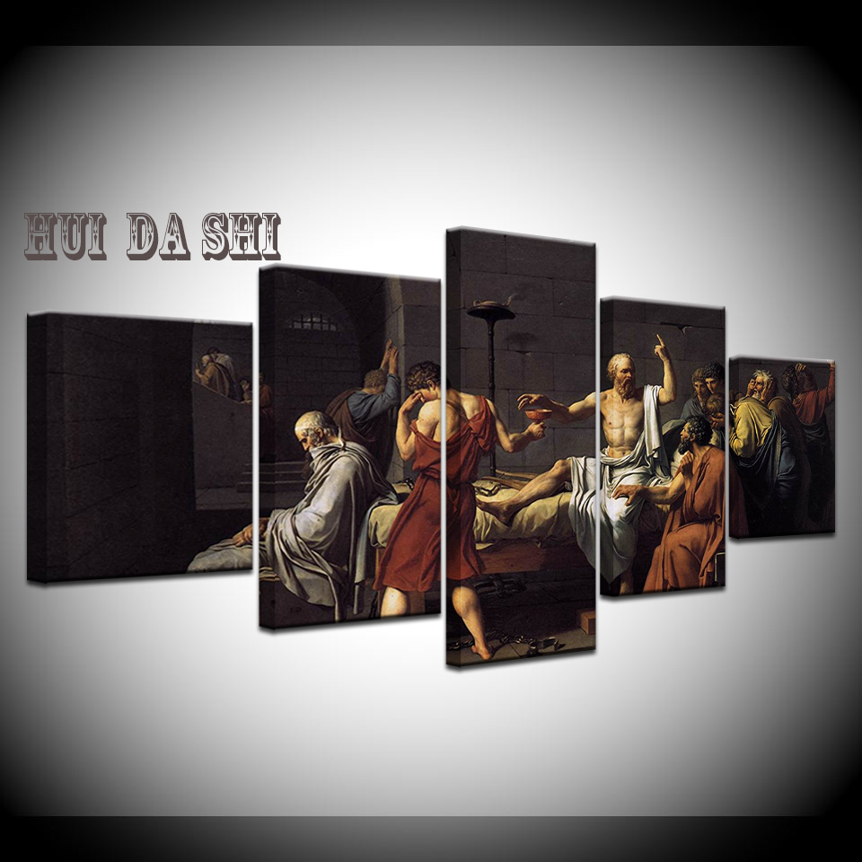 Canvas Art Print 5 Panel The Death of Socrates by David World Famous Painting Modern Home Decor Wall Art Picture Poster frame in Painting Calligraphy from Home Garden