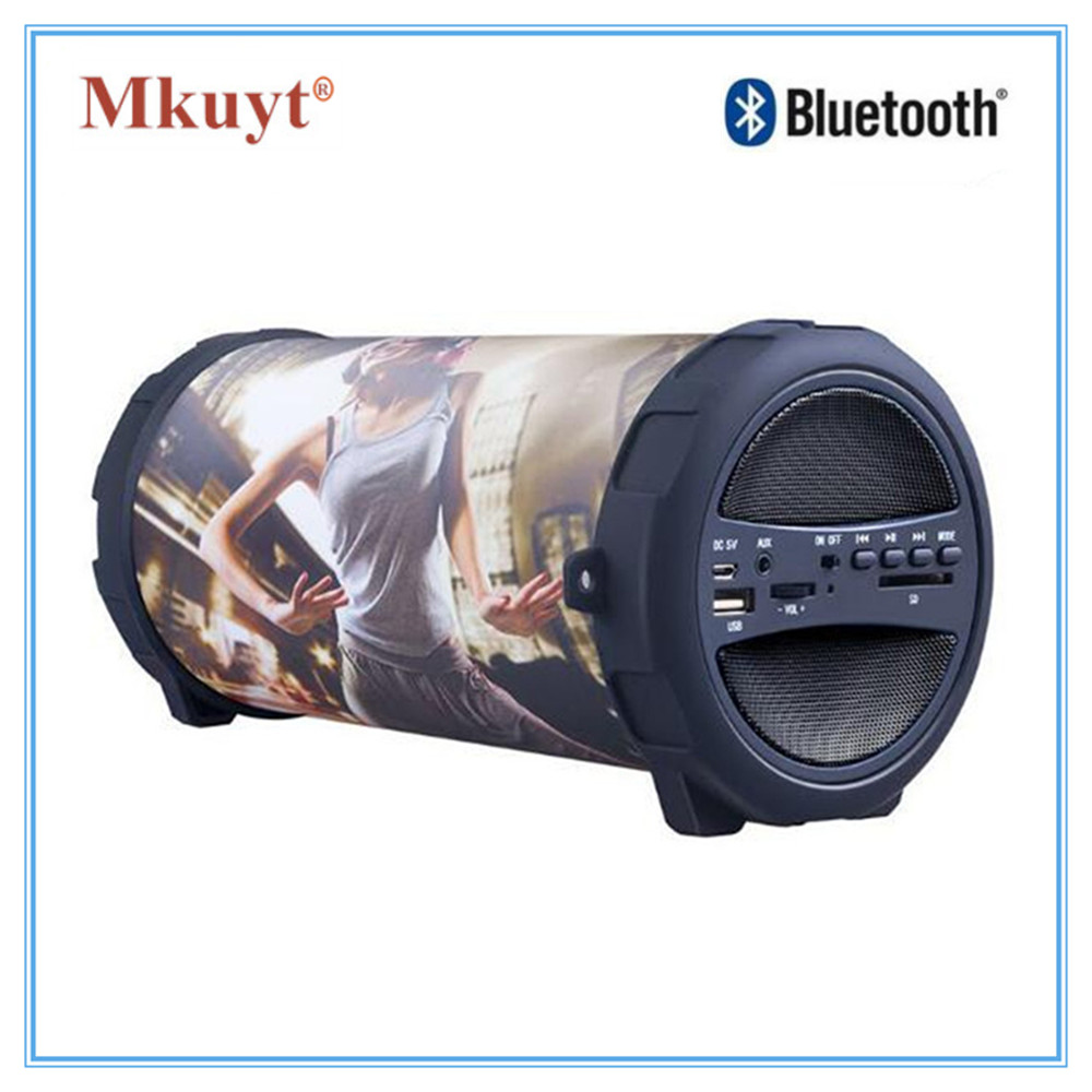 MKUYT Outdoor Portable Bluetooth Speaker 10W Heavy Bass Multi Function AUX TF Card Slot Microphone Sound Tide for Smartphones t050 3w mini portable retractable stereo speaker w tf black golden 16gb max