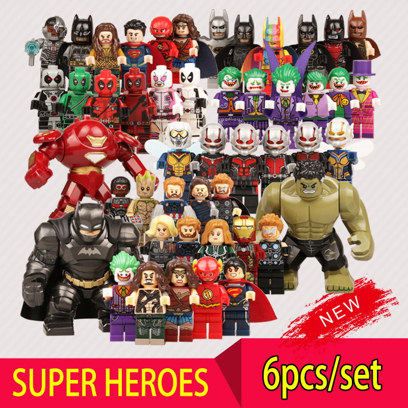 Super Heroes Action Figure Legoes Marvel DC Building Block Iron Man Batman Aquaman Captain Marvel Superman Hulk Kids Toys Gift dc marvel brickheadz cute doll superman batman iron man captain america hulk legoinglys model building block set kids brick toy