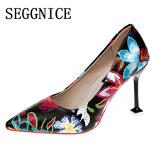SEGGNICE Women High Heel Shoes 9CM Flower Embroidered Classic Ladies Party Sexy Shoes Women's Pumps Toe Pointed Heels Female цены онлайн